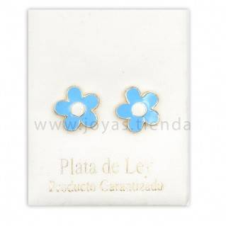 Pendientes de Plata 925 Flor Azul 10mm